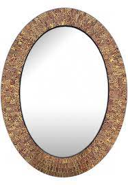 oval shape hanging brown wall mirror