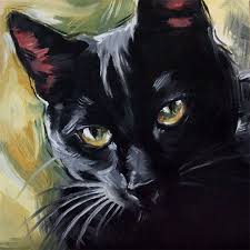 the witch s cat original oil painting of a black cat by diane irvine armitage