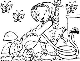 Small Picture Print Little Girl Watering Flower On Garden Coloring Page or