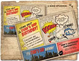 Superhero Invitation Vintage Superhero Birthday Invite Diy