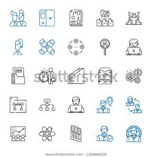 Employee Hierarchy Chart Organization Icons Set Collection Organization User Stock