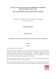 pdf evaluation of the 2016 15 farm input subsidy programme malawi