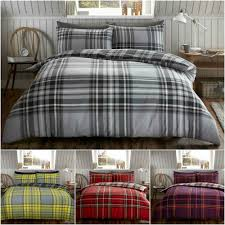 details about thermal flannel tartan check duvet cover single double king size brushed cotton