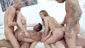 Teen double anal and three dicks at once for Monika Wild.
