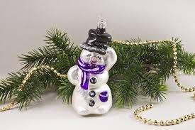 Schneemann Weiß Lila Weihnachtsschmuck Mundgeblasen Handbemalt