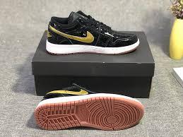 air jordan 1 low gg patent leather black metallic gold white 554723 032 womens mens basketball shoes