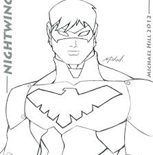 nightwing coloring pages colouring page free printable superhero batman
