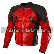 deadpool motorbike leather jacket for men