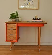 mid century modern office. vintage orange mid century desk modern office