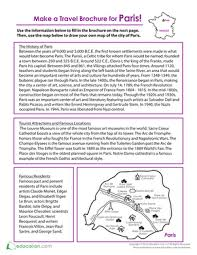 How To Make Travel Brochure Make A Travel Brochure For Paris Worksheet Education Com