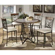 Ashley Hopstand 5 Piece Round Counter Height Dining Set in Brown