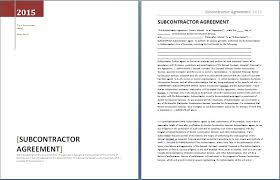 Subcontractor Agreement Format Subcontractor Agreement Template Bonsai