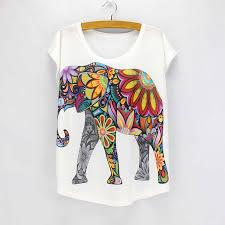 <b>New fashion</b> Flower Elephant printed t shirts women summer tees ...
