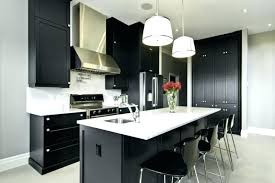 black and white countertops black cabinets white black and white kitchen grey wall white and black