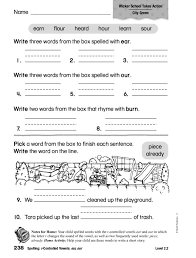 Spelling: r-Controlled Vowels: ear, our Worksheet for 2nd - 3rd ...