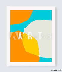 Postcard Collage Template Modern Poster Template Abstract Shapes Creative Design
