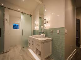 shower with frosted glass barn door