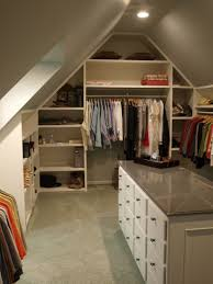 Sweet Closet In Attic Desin With Open Shelves And Cabinet Island Ideas