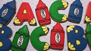 Message Cookie Designs Back To School Themed 12 Ea Sugar Cookies Crayon Pencil