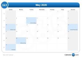 Calendar May 2020 May 2020 Calendar