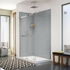 corner shower.  Corner Maax Utile Corner Shower In Metro Ash Grey With Base And Door And D