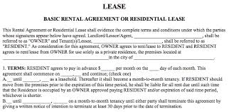 lease agreement sample basic rental agreement in a word document for fre