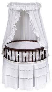 Large size of Oval dark brown baby cradle oval dark brown bassinet pure  white bedding set