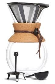 It features a choice of a silicone handle or a cork handle held on with a leather strap. Bodum Pour Over Coffee Maker With Cork Grip Nordstrom