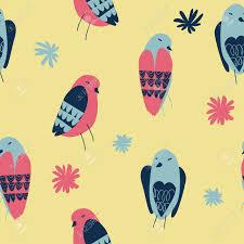 Vector Naadloos Patroon Met Kleine Vogels En Bloemen Op Een