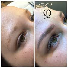 before and after microblading by artist alana everett aura midland michigan cosmetictattoostudio semi permanent makeup for eyebrows