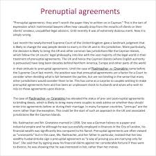 prenup samples sample prenuptial agreement 8 examples format