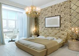 modern bedroom wall designs. Luxurious Condo Master Bedroom With Gold Wall Design, Chandelier And Large Window Modern Designs N