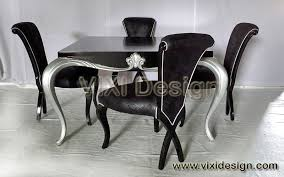 luxury dining set black silver painted neoclassical vixi