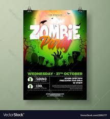 Green Party Flyer Halloween Zombie Party Flyer With