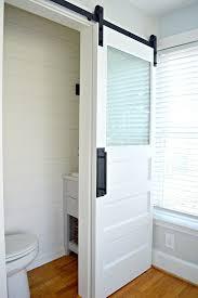 bathroom sliding barn door glass
