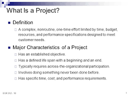 What Is A Project Definition Major Characteristics Of A