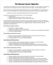 Good Objectives For Resume Sample Objectives For Resume 7 Examples In Pdf Word