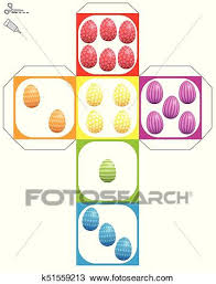 Easter Template Dice Template Easter Eggs Colorful Clipart