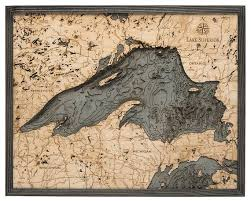 Lake Superior Wood Carved Topographic Depth Chart Map