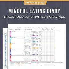 eating log mindful eating nutrition diary food sensitivity logging pages printable pdf