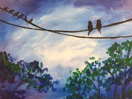 blue night with birds on wire