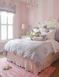 pink and white furniture. love the striped walls paired with antique white furniture and blue floral pink