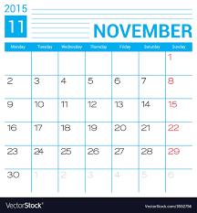 November 2015 Calendar Page Template Royalty Free Vector