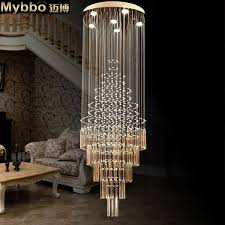 maibo modern fashion double staircase long crystal chandelier villa line crystal lighting living room hanging lamps