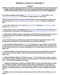 Apartment Sublease Template Free Michigan Sublease Agreement Pdf Word Doc