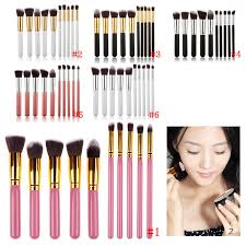 10pcs professional women cosmetic brushes set powder eyeshadow foundation face blushes new makeup beauty kits tools in eye shadow applicator from beauty
