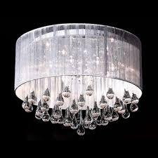 brilliant design silken drum shade gorgeous crystal raindrops falling 8 light flush mount