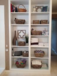 Furniture Charming Storage Shelves With Rattan Baskets For - Modern bathroom shelving