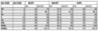 Dress Size Chart Conversion