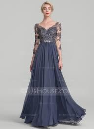 A Line Princess V Neck Floor Length Chiffon Lace Evening Dress Dress Evening